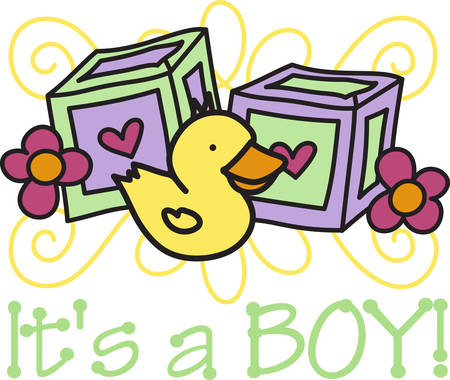 baby border: This super cute baby border features letter blocks and a sweet little duck.  Love it on all kinds of baby gear Illustration