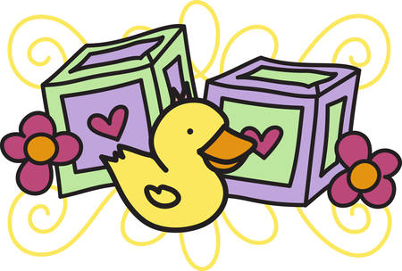 letter blocks: This super cute baby border features letter blocks and a sweet little duck.  Love it on all kinds of baby gear Illustration