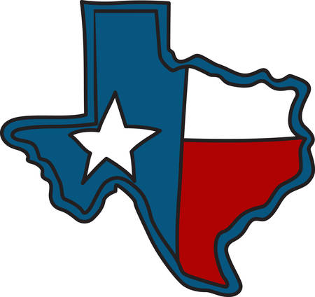 lone: The shape of the Lone Star State filled with the Texas flag.  A perfect way to embellish your cowboy gear. Illustration