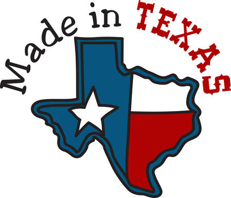 The shape of the Lone Star State filled with the Texas flag.  A perfect way to embellish your cowboy gear. Ilustração