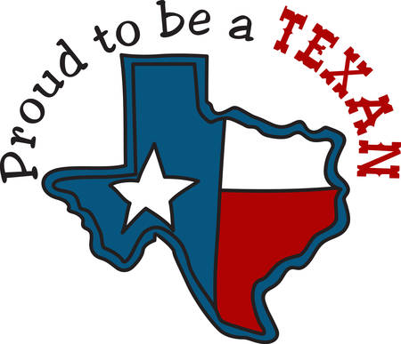 embellish: The shape of the Lone Star State filled with the Texas flag.  A perfect way to embellish your cowboy gear. Illustration