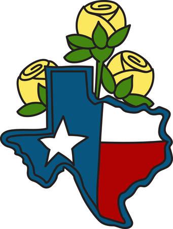 gele rozen: De vorm van de Lone Star State gevuld met de vlag van Texas en versierd met gele rozen. Een perfecte manier om uw cowboytoestel verfraaien.