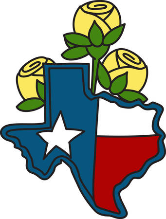 embellish: The shape of the Lone Star State filled with the Texas flag and decorated with yellow roses.  A perfect way to embellish your cowboy gear.