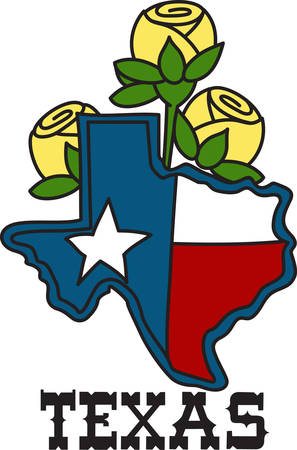 The shape of the Lone Star State filled with the Texas flag and decorated with yellow roses.  A perfect way to embellish your cowboy gear.