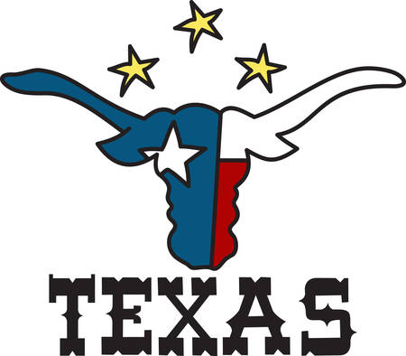 Long horns and lone star  welcome to Texas.  Cowboy up with this lone star design. Ilustrace