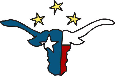 Long horns and lone star  welcome to Texas.  Cowboy up with this lone star design. Illustration