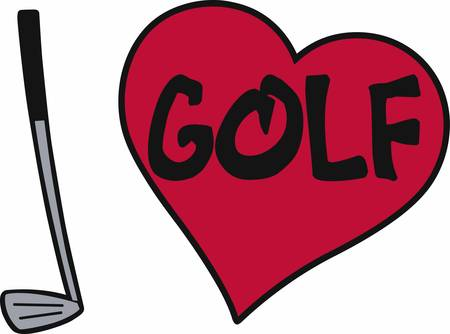golf iron: Iron golf club with pink heart and ball for lady golfers. Illustration