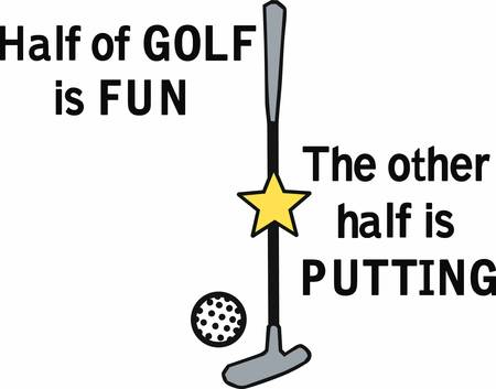 Golf putter with yellow star and ball.