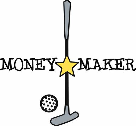 putter: Golf putter with yellow star and ball.