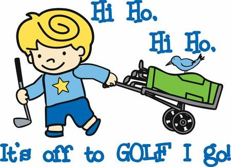 Blonde boy with rolling bag caddy and blue bird. Illustration