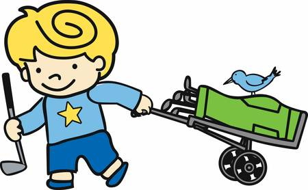 blonde boy: Blonde boy with rolling bag caddy and blue bird. Illustration