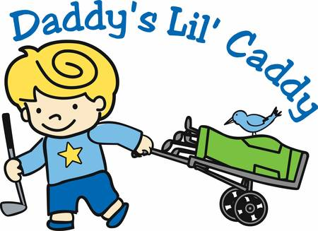 rolling bag: Blonde boy with rolling bag caddy and blue bird. Illustration