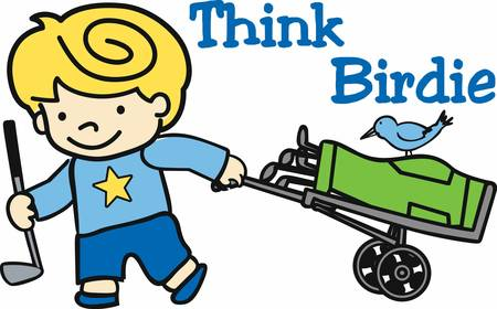 caddy: Blonde boy with rolling bag caddy and blue bird. Illustration