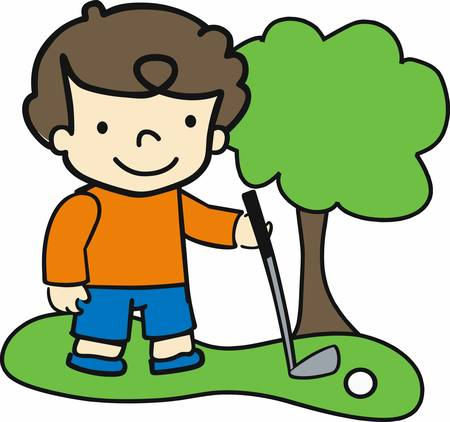 golf iron: Brunette boy on the fairway with an iron golf club.