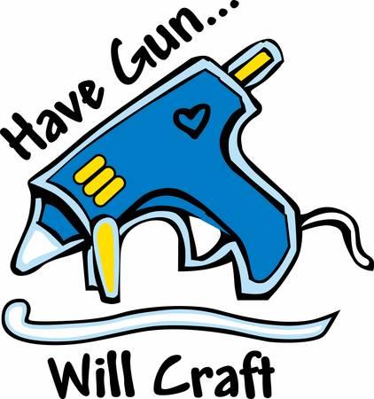 Schrikken uw vrienden met dubbele Hot lijm gun.Pick die ontwerp van Concord. Stock Illustratie