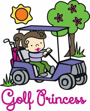 golf cart: Brunette girl driving a golf cart on a sunny day. Illustration