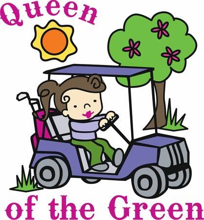 Niña morena conducir un carrito de golf en un día soleado. Foto de archivo - 41149888