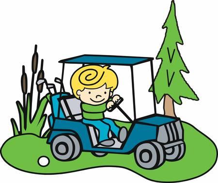golf cart: Blonde boy driving a golf cart on a green fairway.