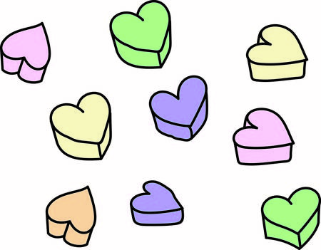 infatuation: Little candy hearts with so much to say are a traditional valentine sweet.  These make a wonderful graphic for Valentine party decoration or shirt dcor.