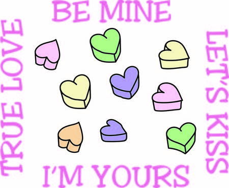 be mine: Little candy hearts with so much to say are a traditional valentine sweet.  These make a wonderful graphic for Valentine party decoration or shirt dcor.