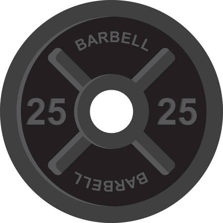 Barbell is a long metal bar to which discs of varying weights are attached at each end used for weightlifting. Reklamní fotografie - 41149903