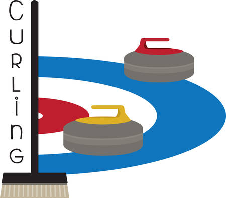 Curling is an interesting sports competition sport. Ilustracja