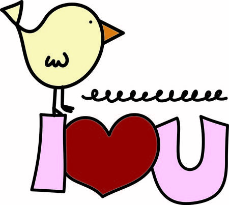 tweet: Our tweet little bird has a special message of love.  It is a super cute way to decorate shirts bags or use for a scrapbooking image.