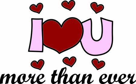Here is a very special message of love.  The stylized text is super cute way to decorate shirts bags or use for a scrapbooking image.