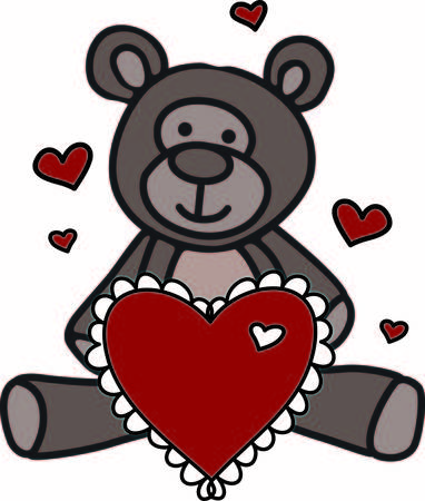 heartfelt: A sweet teddy bear sends love in so many ways.  This fellow has a big heart with hearts all around to express your heartfelt wish. Illustration