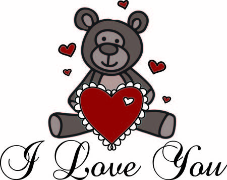 A sweet teddy bear sends love in so many ways.  This fellow has a big heart with hearts all around to express your heartfelt wish. Иллюстрация