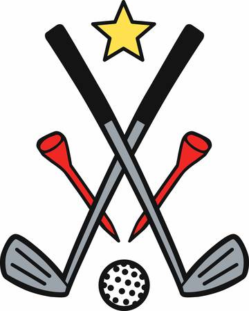 Crossed golf ironsred tees and ball under yellow star.