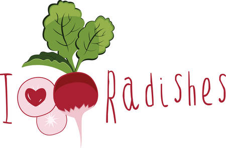 vegatables: Radishes make perfect springtime finger food. Have this designs by Concord Illustration