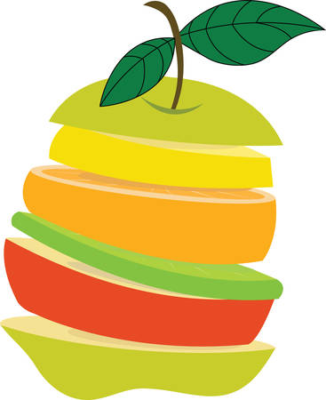 Prepare a tasty and healthy fruits salad with this fruit slices design by Concord Çizim