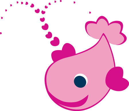 Here is a cute  pink swimming whale