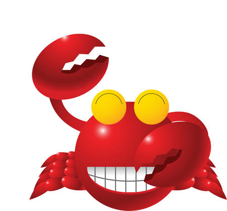 Here is a cute crab with shiny sparkling teeth Looks like he is ready to dance.