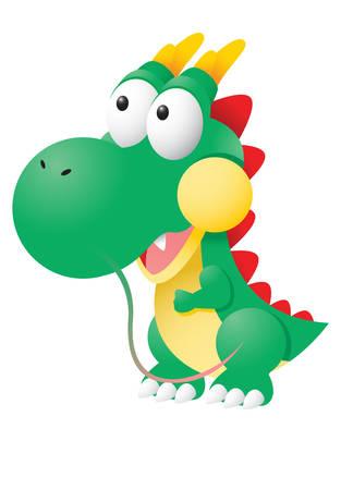 occhi sbarrati: Ecco un piccolo giocattolo drago sveglie animali ti guarda con gli occhi spalancati Vettoriali