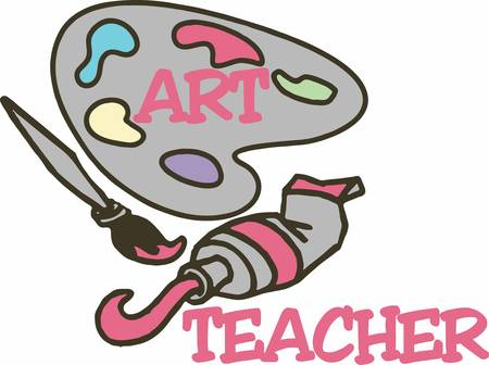 An art teacher looks for kids that color outside the lines.  A perfect gift to thank an art teacher for inspiring them. 矢量图像