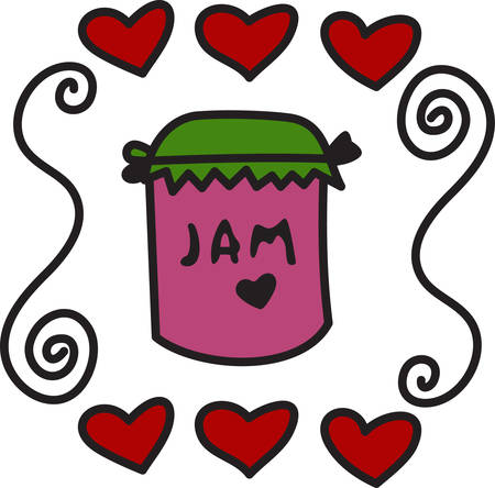 jams: Homemade jams and jellies are always a yummy treat.  Create special labels or jar toppers with this super cute design. Illustration