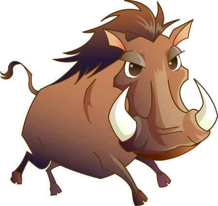 tusk: This cute cartoon wild boar is perfect for your nursery. Illustration