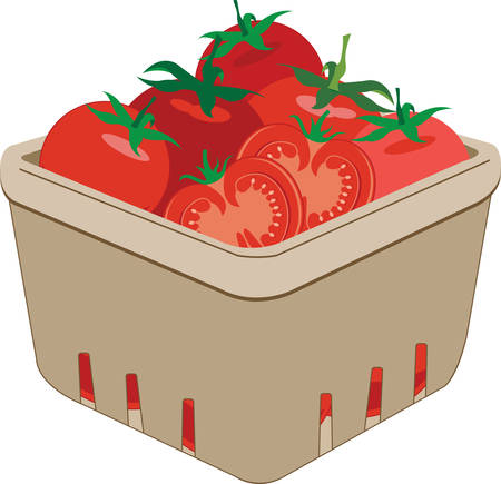 quart: Fill the basket with colourful tomatoes designs by Concord Illustration