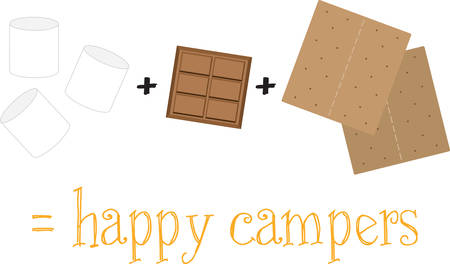 Remember to take smores with you on the next camping adventure. Ilustracja