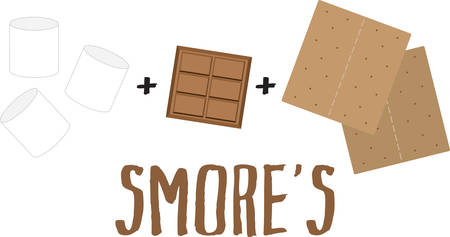 Remember to take smores with you on the next camping adventure. Illustration
