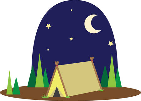 Family camping is a wonderful adventure to enjoy nature and the stars at night. 向量圖像