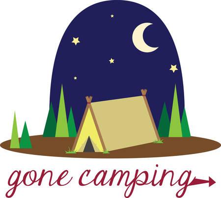 Familie camping is een prachtig avontuur om te genieten van de natuur en de sterren in de nacht. Stock Illustratie