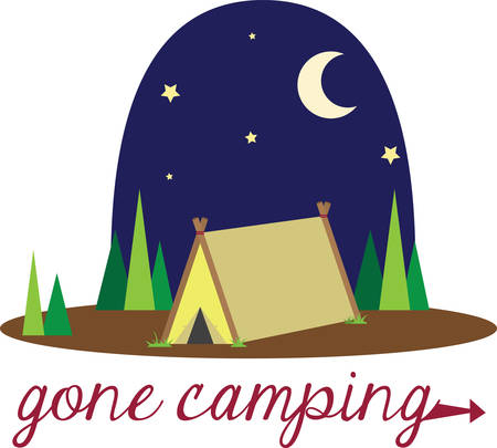 Family camping is a wonderful adventure to enjoy nature and the stars at night. Ilustração