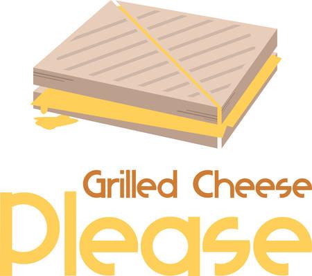 Gegrilde kaas sandwich is een geweldige lunch voor kinderen. Stock Illustratie