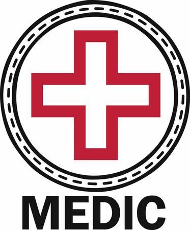 꽃 적십자는 구출을위한 도움을 필요로하는 사람들에게 의학적 관심을 가져다 준다. 일러스트