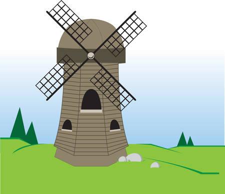 g�n�rer: Un b�timent avec des voiles ou des ailettes qui tournent dans le vent et g�n�rent de l'�nergie pour moudre le ma�s en farine