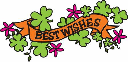 lucky clover: Wish your loved one with this lucky clover ribbon Illustration