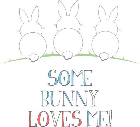 Deze schattige konijntjes zijn perfect voor je paasontwerp. Stock Illustratie